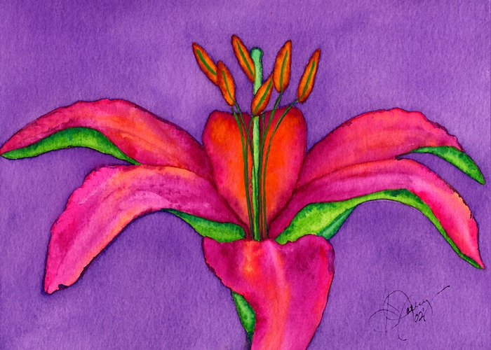 Red Lily Greeting Card featuring the painting Neon Lily by Stephanie Jolley