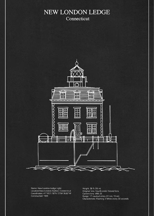 New london ledge lighthouse connecticut blueprint drawing new london ledge greeting card featuring the digital art new london ledge lighthouse connecticut malvernweather Image collections