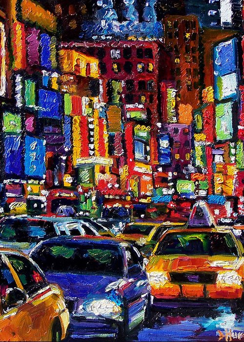 New York City Greeting Card featuring the painting New York City by Debra Hurd