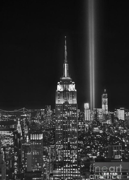 New York City Skyline At Night Greeting Card featuring the photograph New York City Tribute In Lights Empire State Building Manhattan At Night Nyc by Jon Holiday