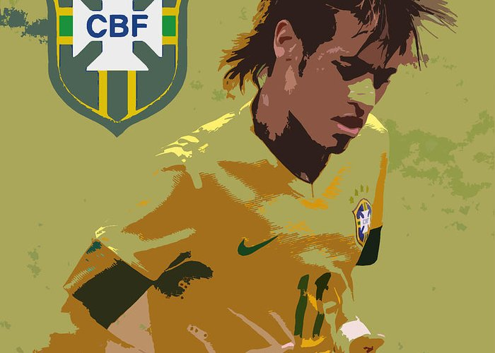Lee Dos Santos Greeting Card featuring the photograph Neymar Art Deco by Lee Dos Santos