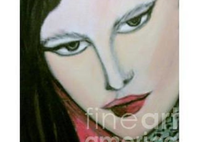 Expressive Greeting Card featuring the painting Nicky 1 by Duygu Kivanc