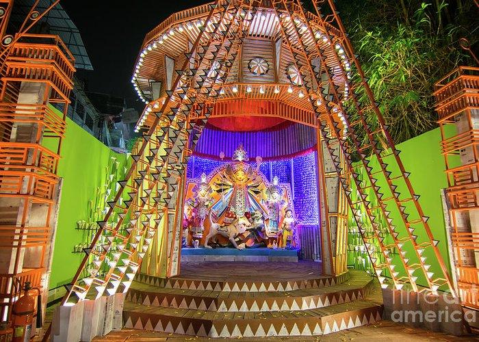 Night Image Of Durga Puja Pandal Kolkata West Bengal India Greeting Card