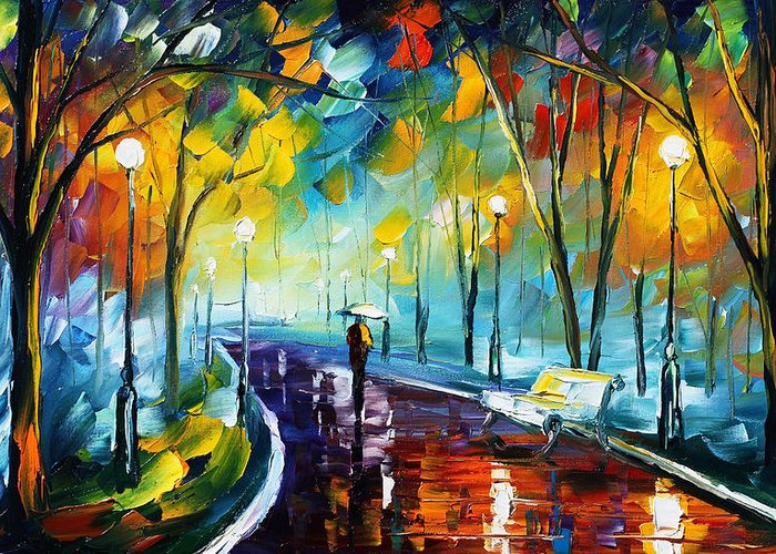 Afremov Greeting Card featuring the painting Night Park by Leonid Afremov