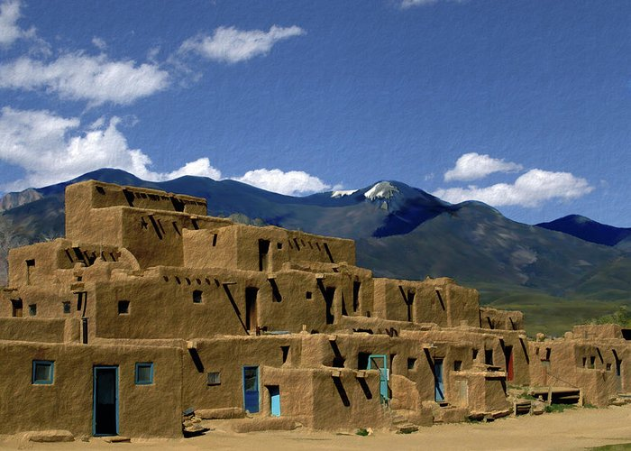 Taos Pueblo Greeting Card featuring the photograph North Pueblo Taos by Kurt Van Wagner