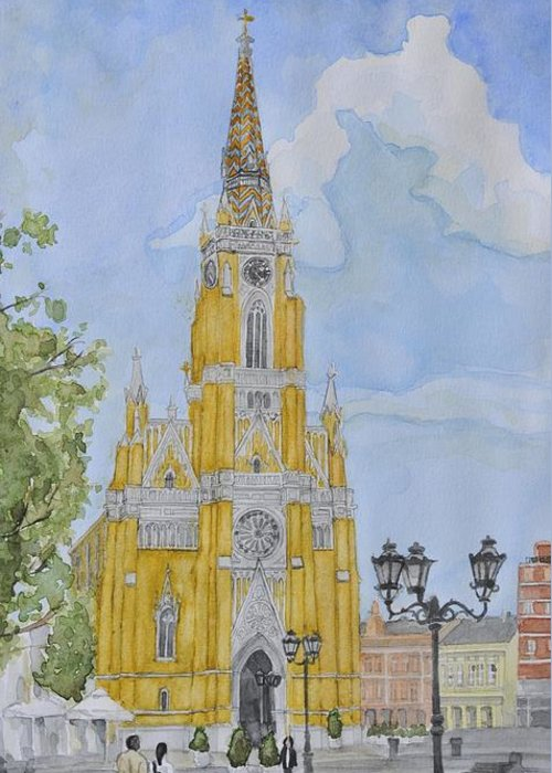 Landscape Greeting Card featuring the painting Novi Sad Cathedral by Desimir Rodic