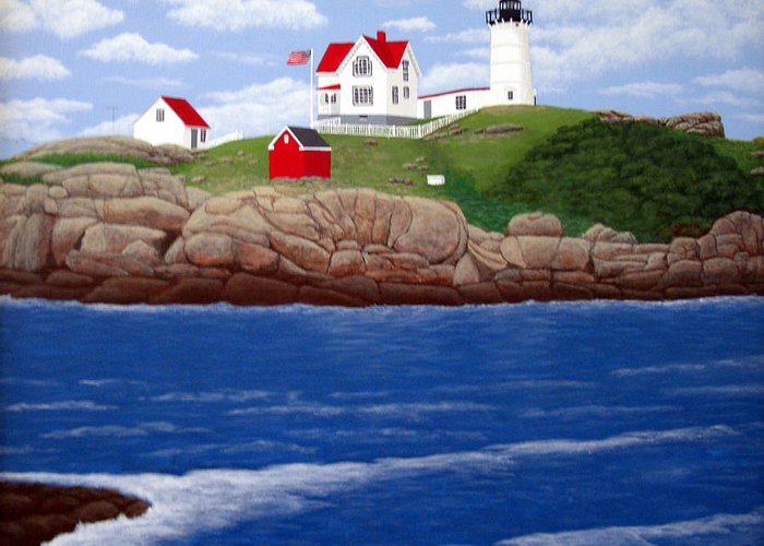 Lighthouses Greeting Card featuring the painting Nubble Lighthouse by Frederic Kohli