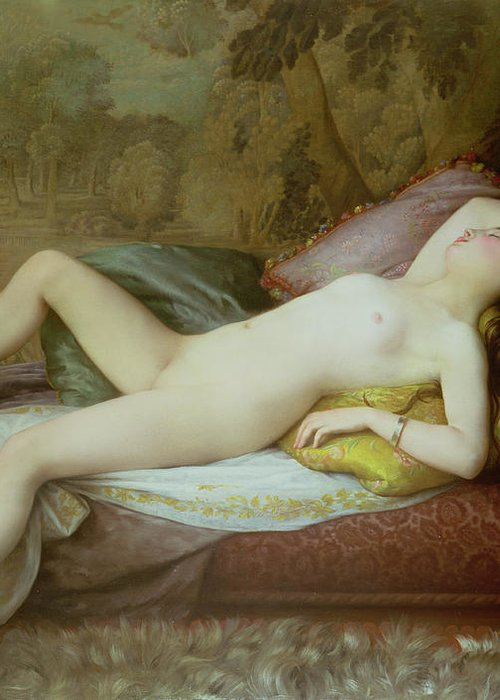 Nude Greeting Card featuring the painting Nude Lying On A Chaise Longue by Gustave-Henri-Eugene Delhumeau