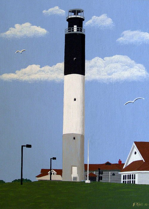 Lighthouse Paintings Greeting Card featuring the painting Oak Island Lighthouse by Frederic Kohli