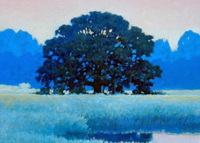 Landscape Greeting Card featuring the painting Oak Tree by Kevin Lawrence Leveque
