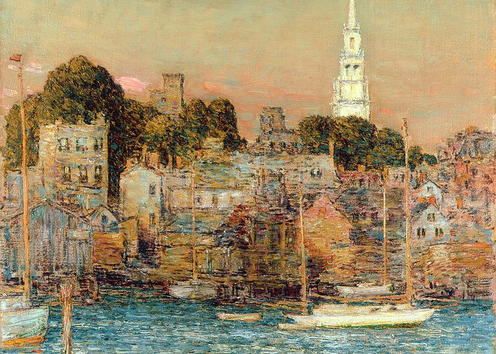 October Sundown Greeting Card featuring the painting October Sundown by Childe Hassam