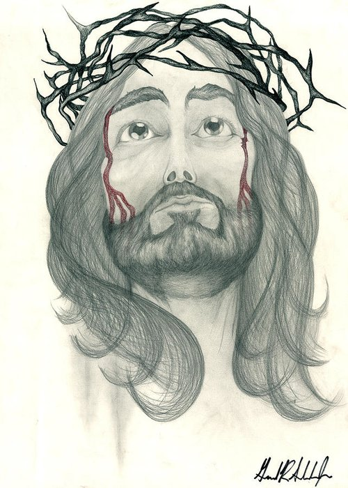Jesus Greeting Card featuring the drawing Ode To The Man Upstairs by Gerard Schneider Jr