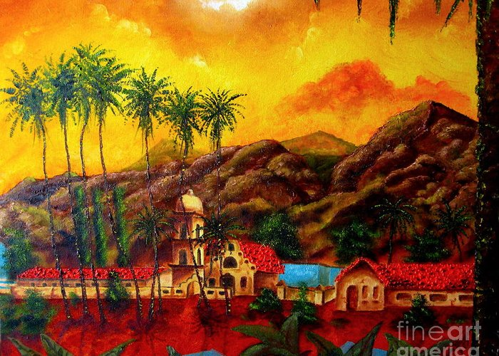 Cityscape Greeting Card featuring the painting Ojai Yellow by Chris Haugen