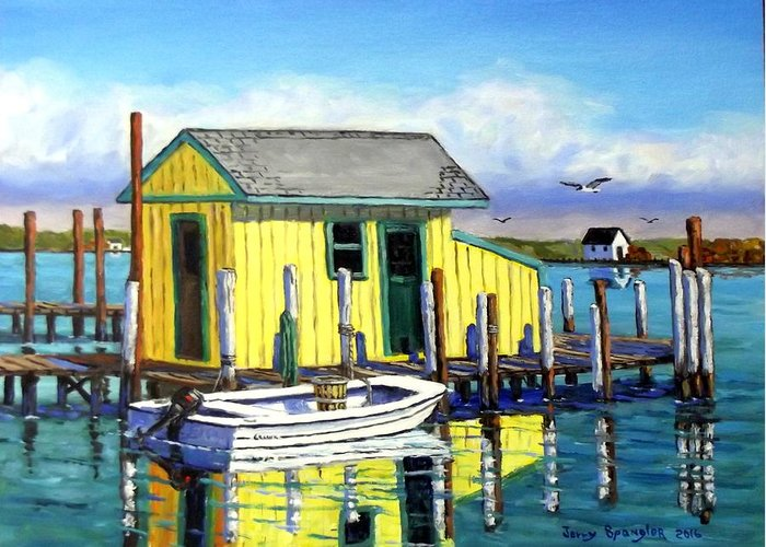 Seascape Greeting Card featuring the painting Old Crab Yellow Shacks Of Tangier Island by Jerry SPANGLER