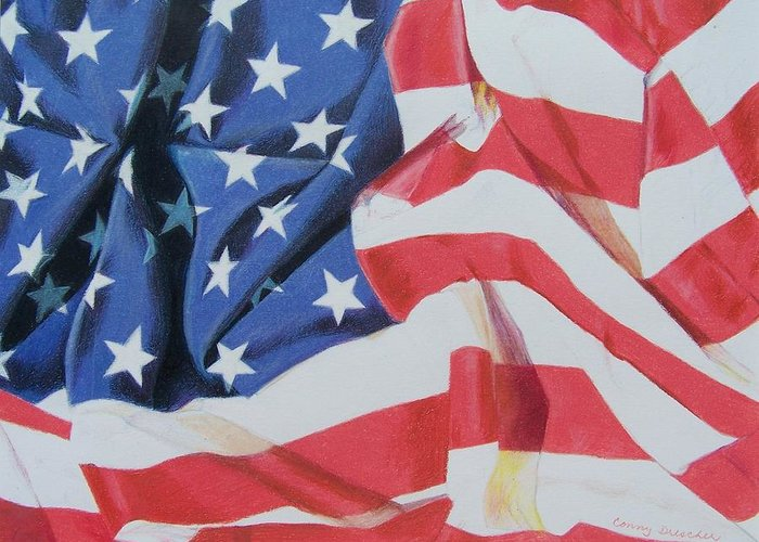 Flag Greeting Card featuring the mixed media Old Glory by Constance Drescher