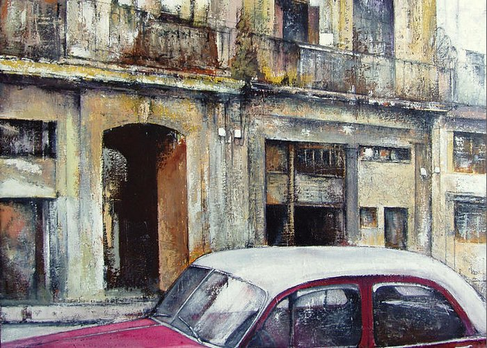 Old Havana Greeting Card featuring the painting old Havana by Tomas Castano
