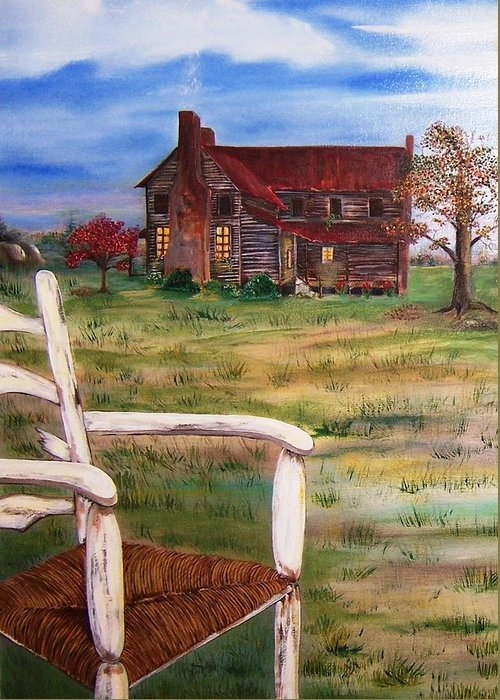 Landscape Greeting Card featuring the painting Old Home by Penny Everhart