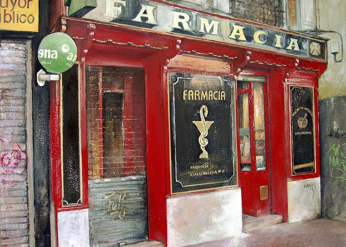 Farmacia Greeting Card featuring the painting Old Pharmacy by Tomas Castano