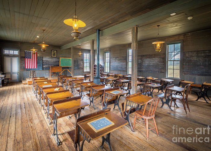 America Greeting Card featuring the photograph Old Schoolroom by Inge Johnsson
