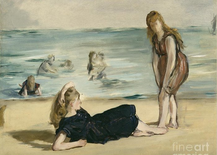 The Greeting Card featuring the painting On The Beach by Edouard Manet