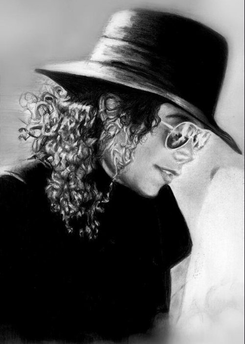 Mj Greeting Card featuring the drawing On Vacation With Lisa by Carliss Mora