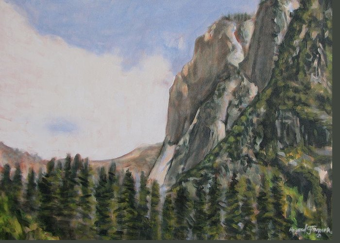 Landscape Greeting Card featuring the painting One Flight Up by Howard Stroman