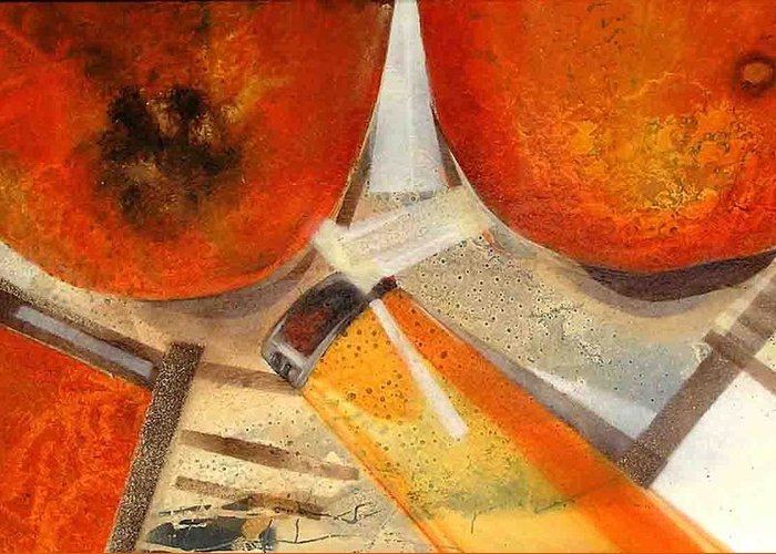 Greeting Card featuring the painting Orange Still Life by Evguenia Men