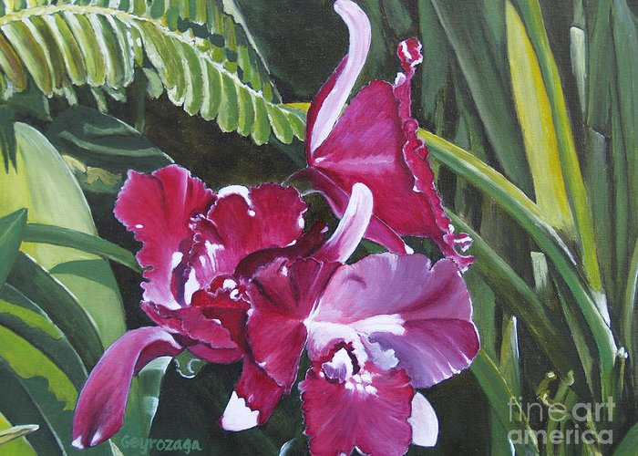 Flower Greeting Card featuring the painting Orchid by Larry Geyrozaga