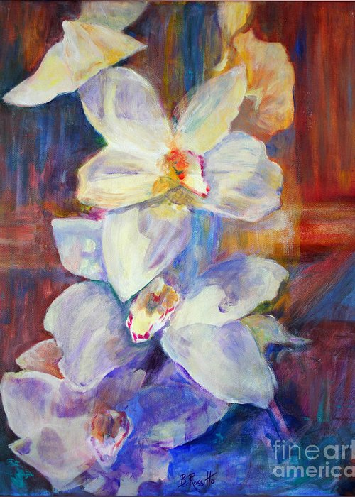 Orchids Behind Glass Greeting Card featuring the painting Orchids Behind Glass by B Rossitto