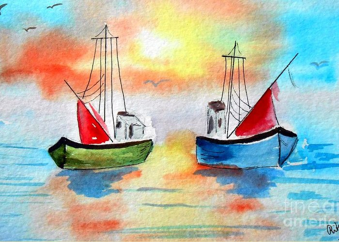 Boat Greeting Card featuring the painting Out To Sea by Rita Drolet