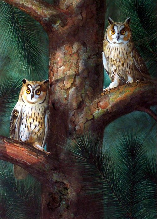 Wildlife Greeting Card featuring the painting Owls In Moonlight by Frank Wilson