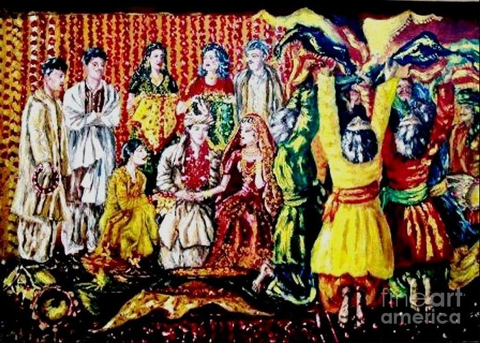Oil Painting Greeting Card featuring the painting Pakistani Wedding by Fareeha Khawaja