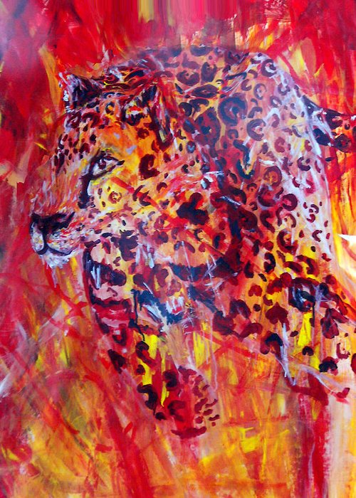 Panther Greeting Card featuring the painting Panther by Anne Weirich