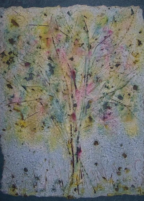 Greeting Card featuring the mixed media Paper Tree by Sally Van Driest