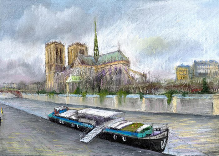 Cityscape Greeting Card featuring the pastel Paris Notre-dame De Paris by Yuriy Shevchuk