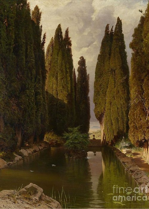 Hermann Kruger (1834-1908) Park Near Rome Greeting Card featuring the painting Park Near Rome by MotionAge Designs