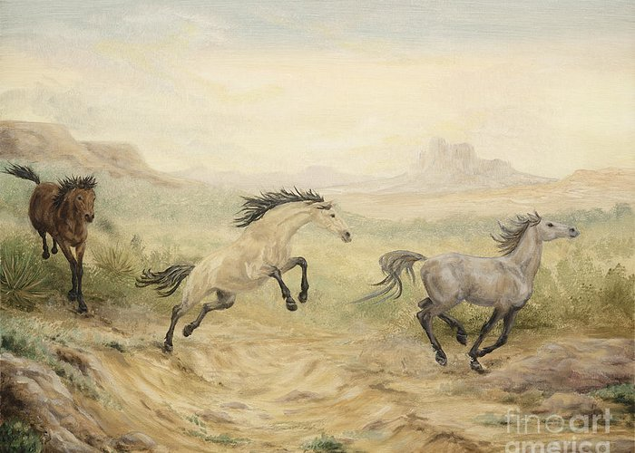 Horse Greeting Card featuring the painting Passing Through by Cathy Cleveland