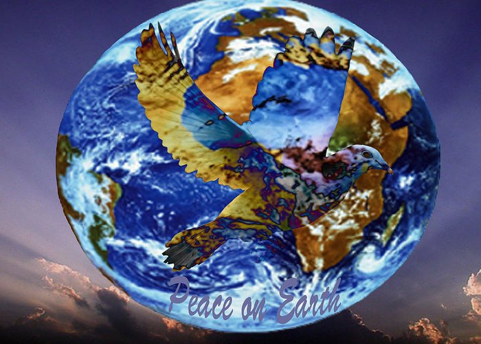 Digital Art Greeting Card featuring the digital art Peace On Earth by Evelyn Patrick