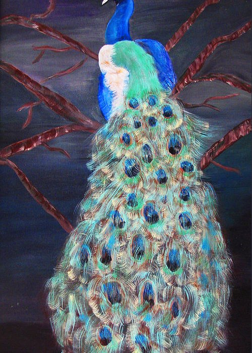 Peacock Greeting Card featuring the painting Peacock by Mikki Alhart