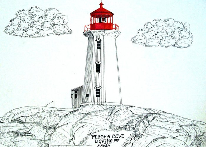 Lighthouse Drawings Greeting Card featuring the drawing Peggys Cove Lighthouse by Frederic Kohli