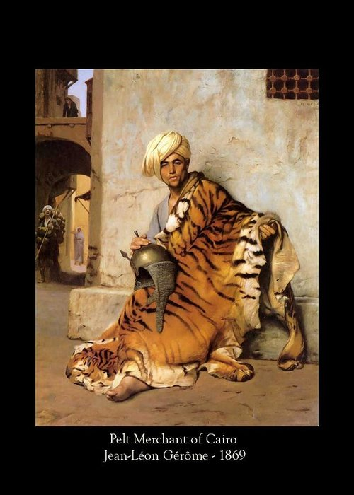 Jean-leon Gerome Greeting Card featuring the painting Pelt Merchant Of Cairo - 1869 by Jean-Leon Gerome