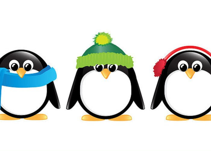 Adorable Greeting Card featuring the digital art Penguins Isolated by Jane Rix