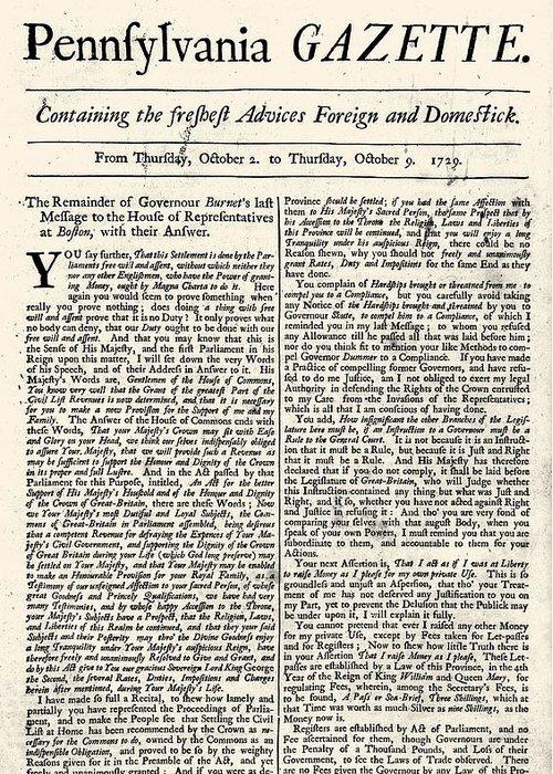 Pennsylvania Gazette, 1729 Greeting Card