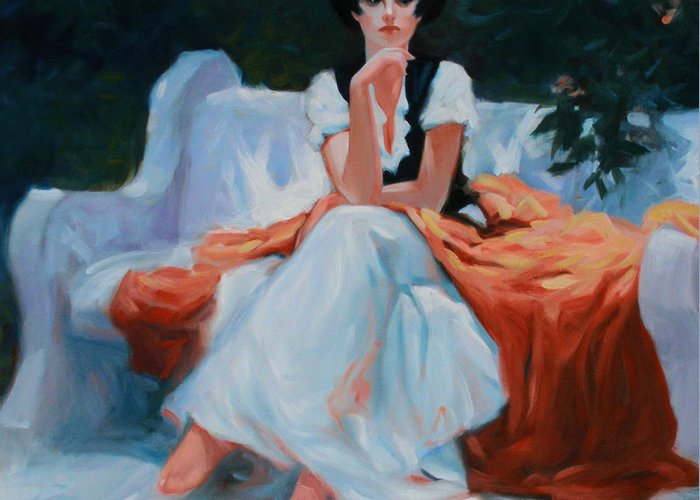 Portrait Greeting Card featuring the painting Pensive Pose by Kevin Lawrence Leveque