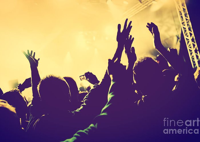 Concert Greeting Card featuring the photograph People With Hands Up In Night Club by Michal Bednarek