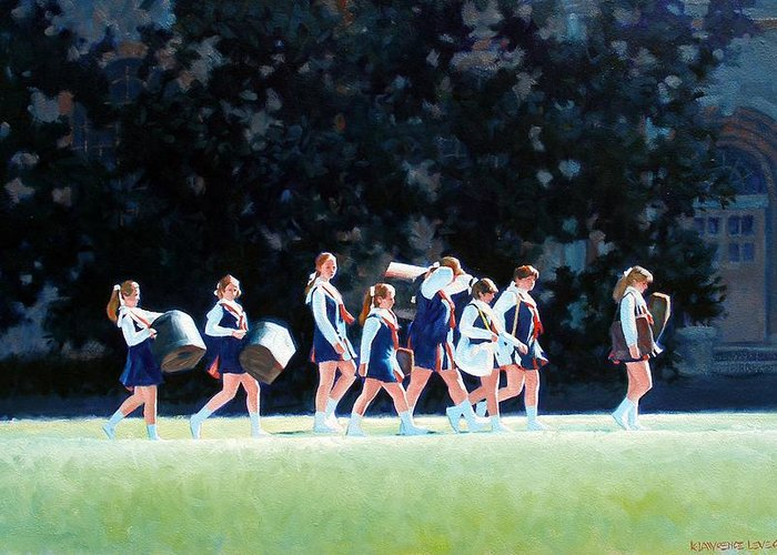 Band Greeting Card featuring the painting Pep Squad by Kevin Lawrence Leveque