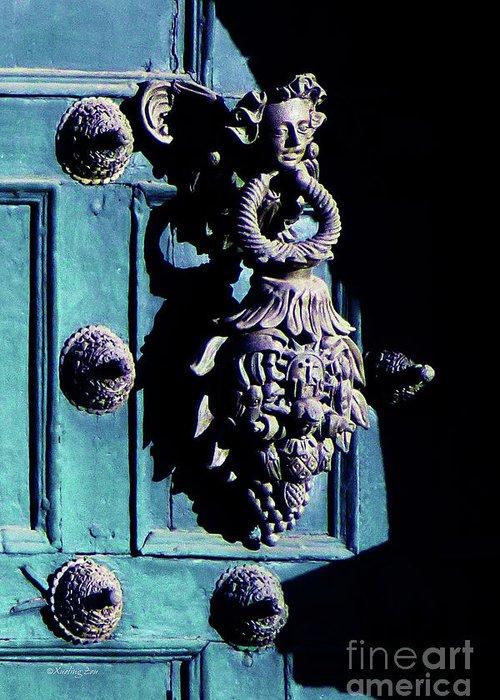 Inca Greeting Card featuring the photograph Peruvian Door Decor 6 by Xueling Zou