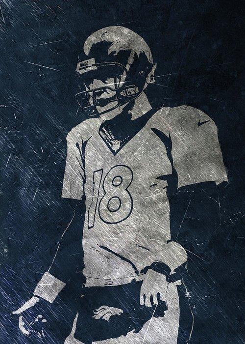 Peyton Manning Greeting Card featuring the painting Peyton Manning Broncos by Joe Hamilton