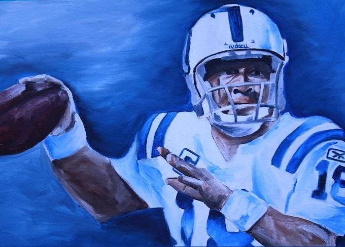 Peyton Manning Prints Greeting Card featuring the painting Peyton by Mikayla Ziegler