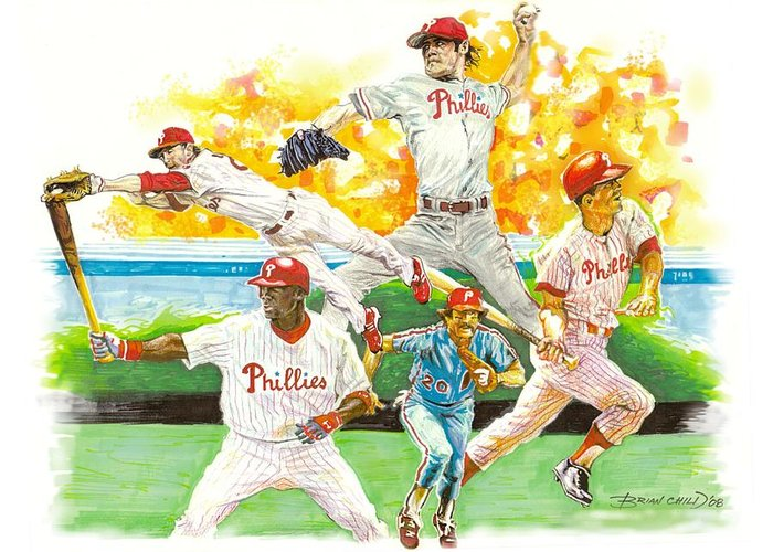 Baseball Greeting Card featuring the mixed media Phillies Through The Ages by Brian Child
